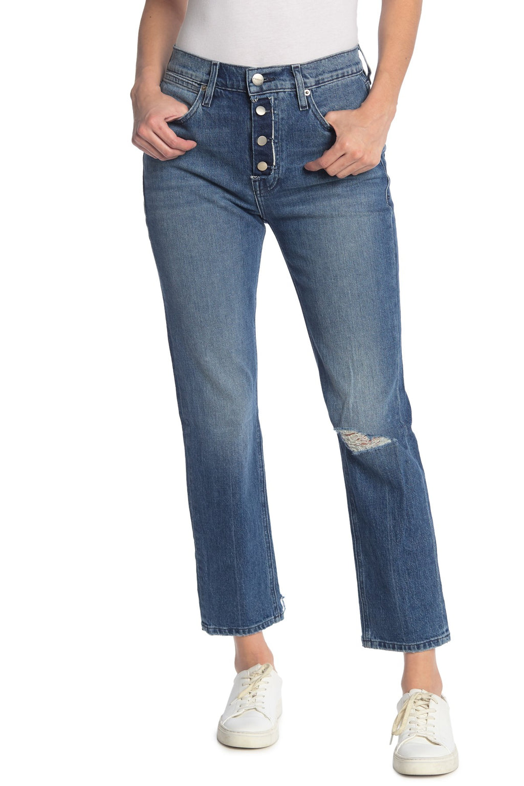 FRAME Le Pegged Distressed Jean