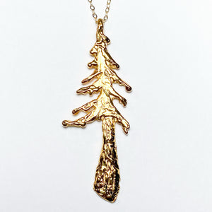 Grande Redwood Tree Necklace Gold Plate