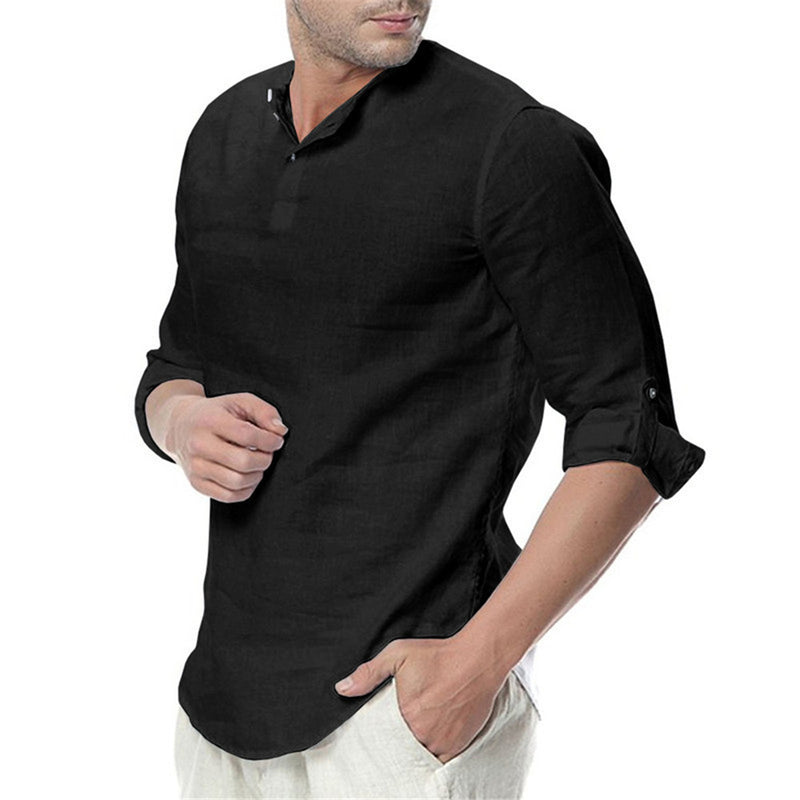 Men's Stand Collar Solid Color Casual Long-sleeved Shirts
