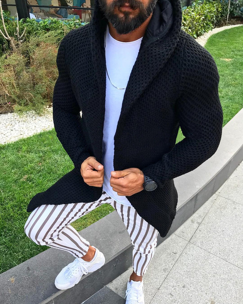 Men's Autumn and Winter Slim Long-sleeved Cardigan Hooded Sweaters Tops