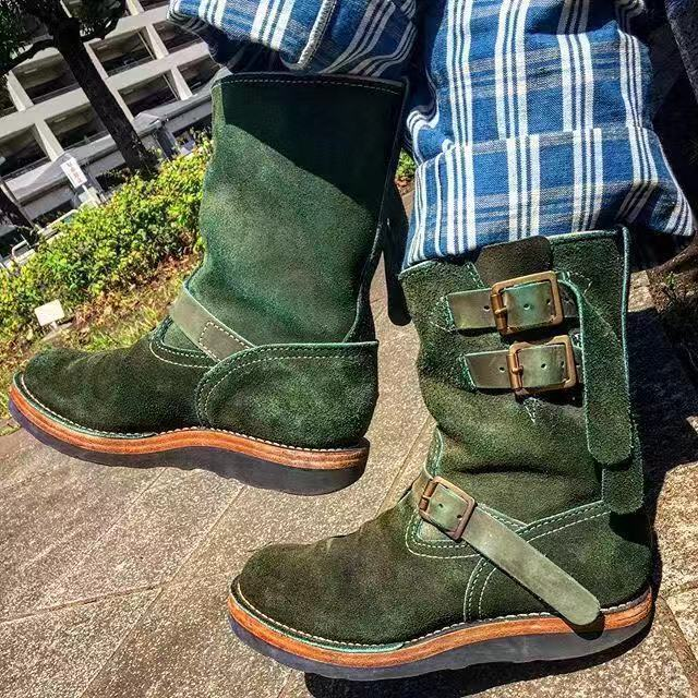 Men's Round Head Solid Color Boots