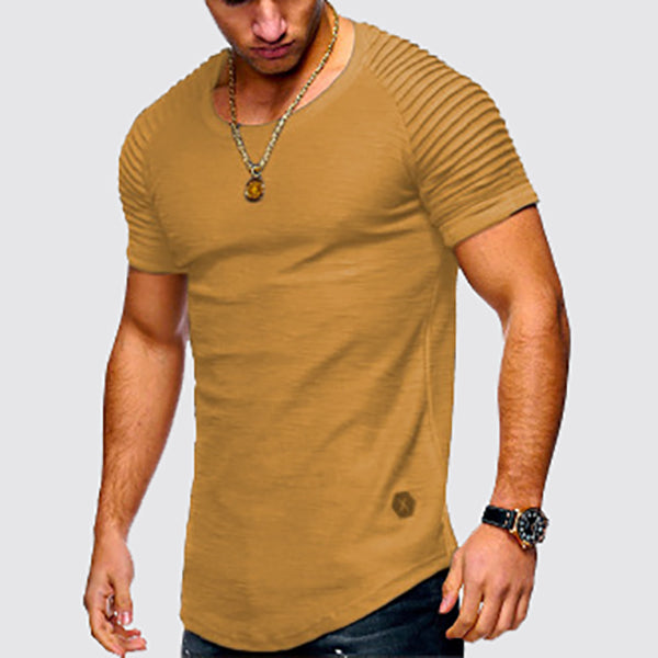 Men's Round Neck Slim Solid Color Short-Sleeved T-Shirts