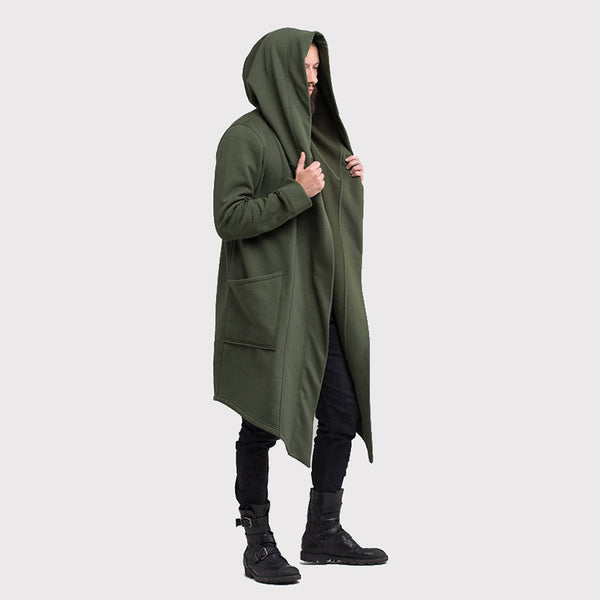 Men's Coats Solid Color Hooded Long Cardigan Jackets
