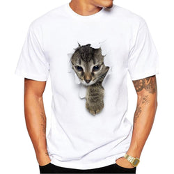 Mens Short Sleeve 3D Cat Printed Casual White T-Shirts