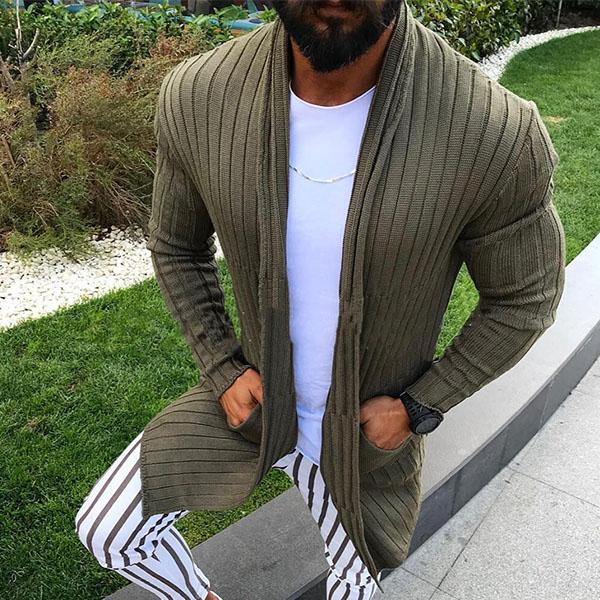 Men Long Sleeve Solid Color Knitted Cardigans