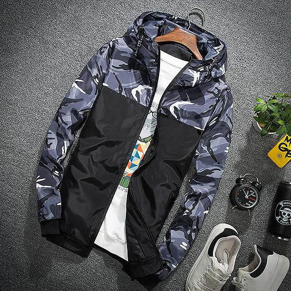 Men Zipper Long Sleeve Camouflage Baseball Jacket