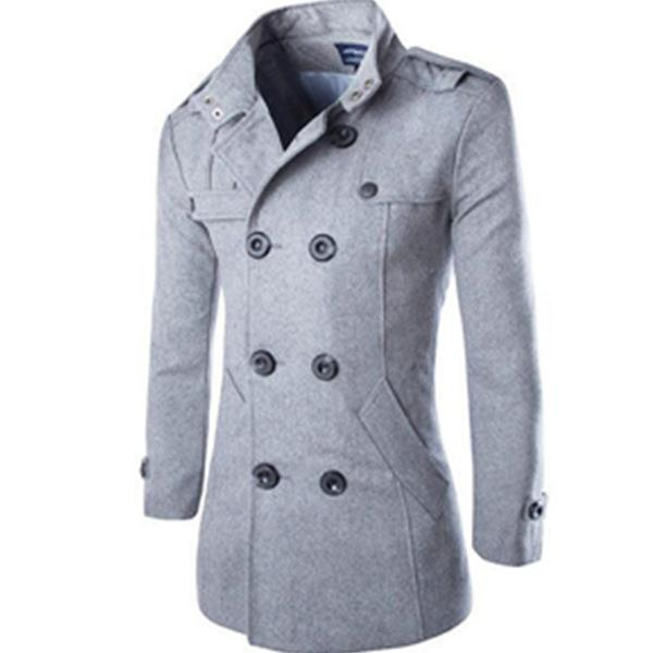 Mens Fashion Casual Solid Color Stand Collar Coat