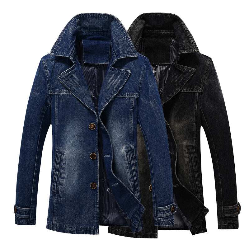 Mid-length Cowboy Trench Coat Men's Spring and Autumn Trend Slim Youth Jackets