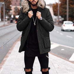 Men's Solid Color Hooded Long Coats