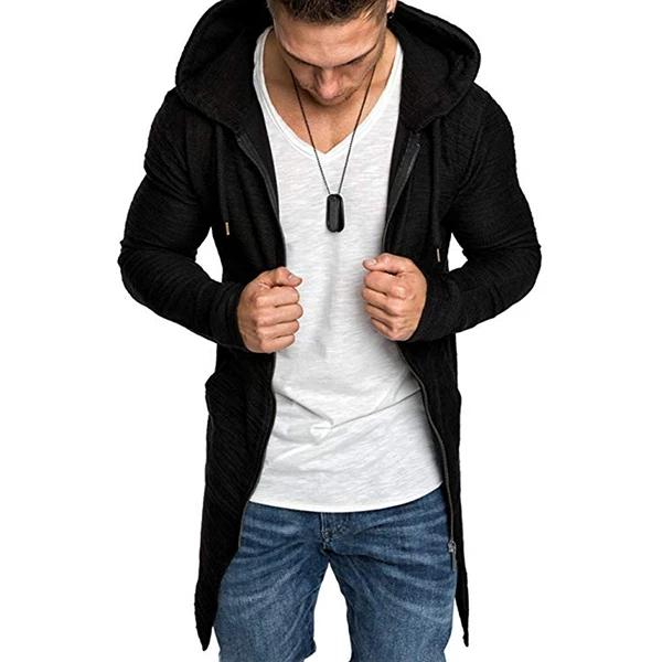 Fashion Mid-Length Zipper Hooded Sweatshirt