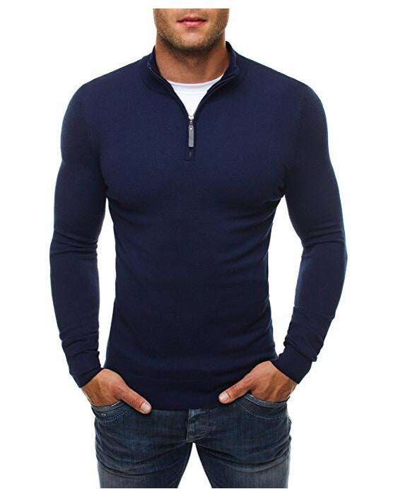 Solid Color High Collar Long Sleeve Men's Slim Sweater