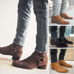 Men's British Style Round Toe Business Flats Boots