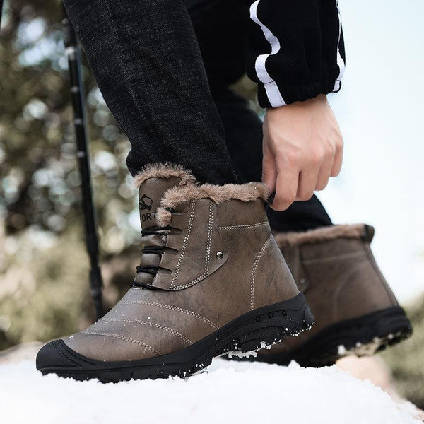 Men Winter Hiking Climbing Outdoor Plush Warm Ankle Boots