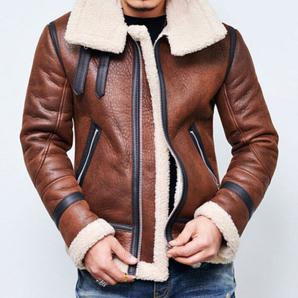 Zipper Thickening Motorcycle Men's Retro Leather Jackets