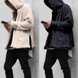 Men's Fur Loose warm Hooded Sweater Coat