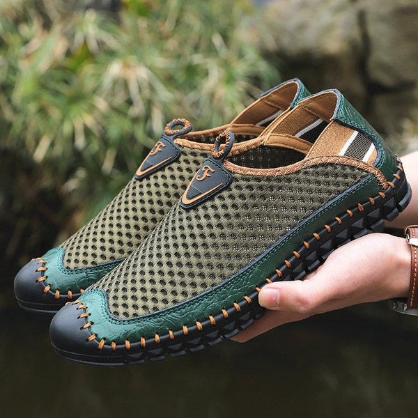 Fashion Men Hand Stitching Mesh Outdoor Soft Slip Resistant Flats