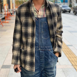 Men's Plaid Printed Wool Jacket Coat