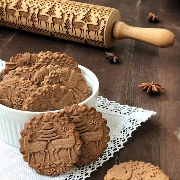 Christmas Moose Printed Cane Birch 3D Rolling Pin Cool Gadgets