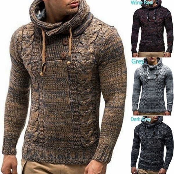 Autumn and Winter Men's Slim High Collar Hooded  Knit Large Size Sweaters