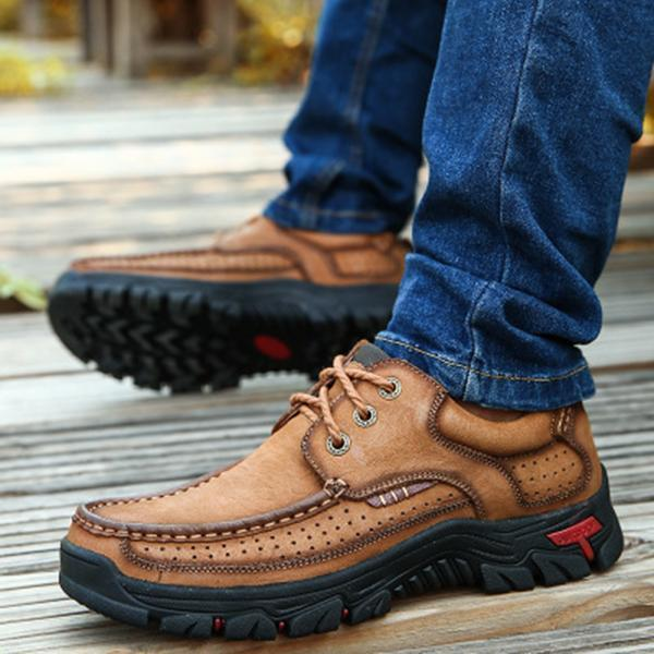Casual Men Outdoor Lace-up Genuine Leather Oxfords Shoes