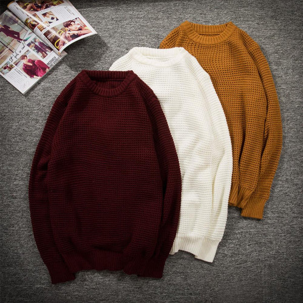 Men Autumn Winter Solid Color Round Neck Knitted Sweater