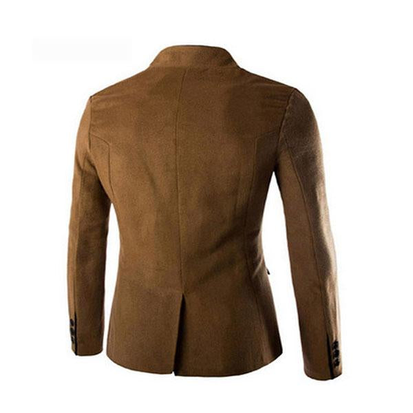 Mens Solid Color Tunic Collar  Long Sleeve Coat