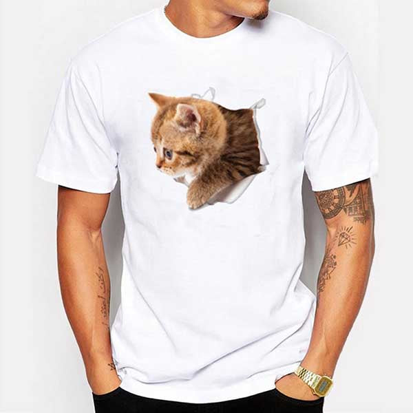 Summer Men's T-Shirt Short Sleeve Casual Cat T-Shirts