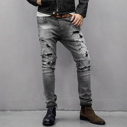 Vintage Washed Men's Slim Denim Pants