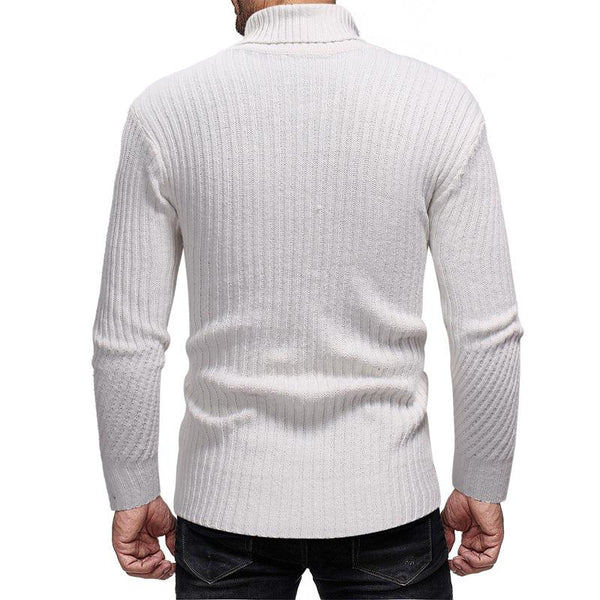 Men's High Collar Striped Knitted Sweater
