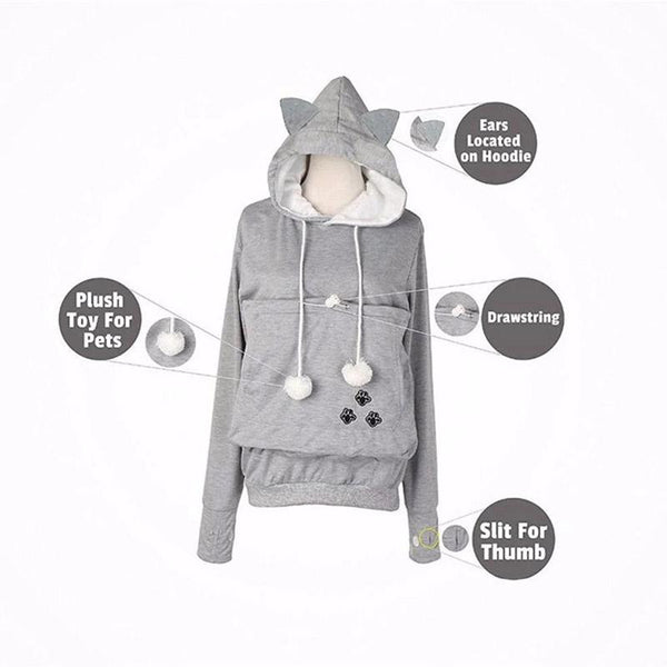 Cat Lovers Hoodie Cuddle Pouch Plus Size Hoodies Pet Supplies
