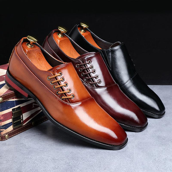 Men Fashion Pointed Toe Side Lace-up Business Formal Shoes
