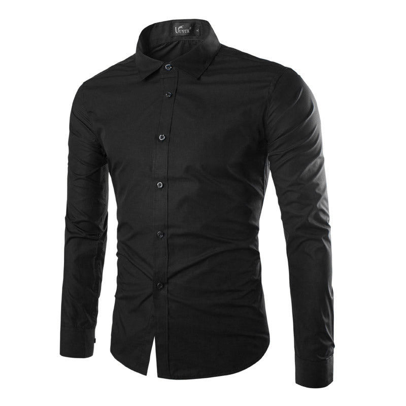 Slim Formal  Long Sleeve Shirt Fashion Men Solid Color Shirts
