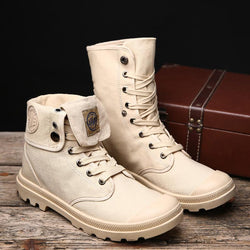 Mens Vintage Canvas High Top Lace Up Martin Boots
