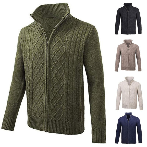 Mens Fashion Casual Autumn Solid Zipper Stand Collar Cardigans