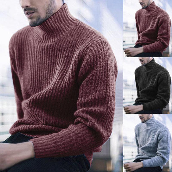 Mens New High-necked Long-sleeved Sweater