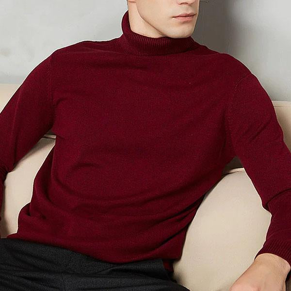Mens Fashion Turtleneck  Solid Color Long-sleeved Sweater