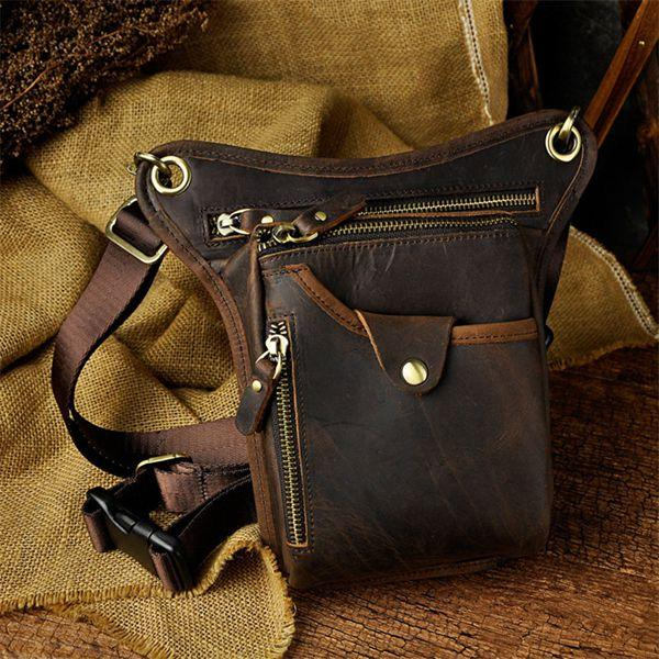 Vintage Leather Motorcycle Riding Messenger Cross Body Shoulder Bag