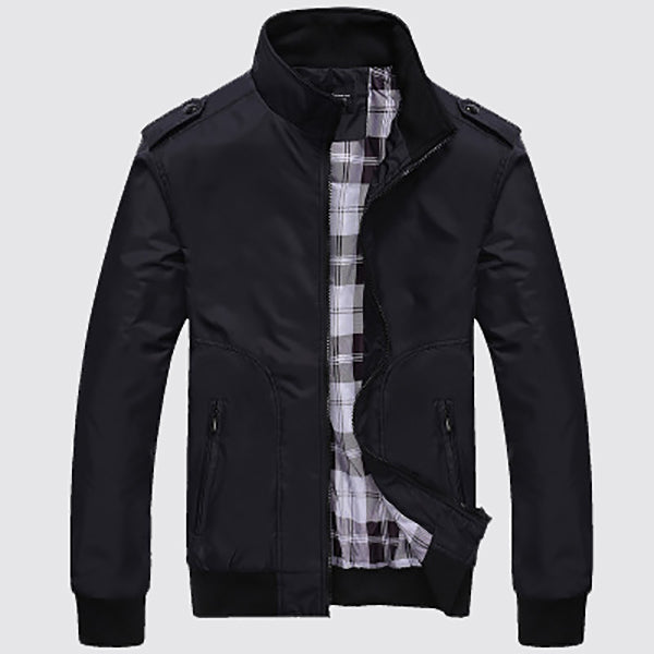 Men's Solid Color Fashion Standing Collar Coats