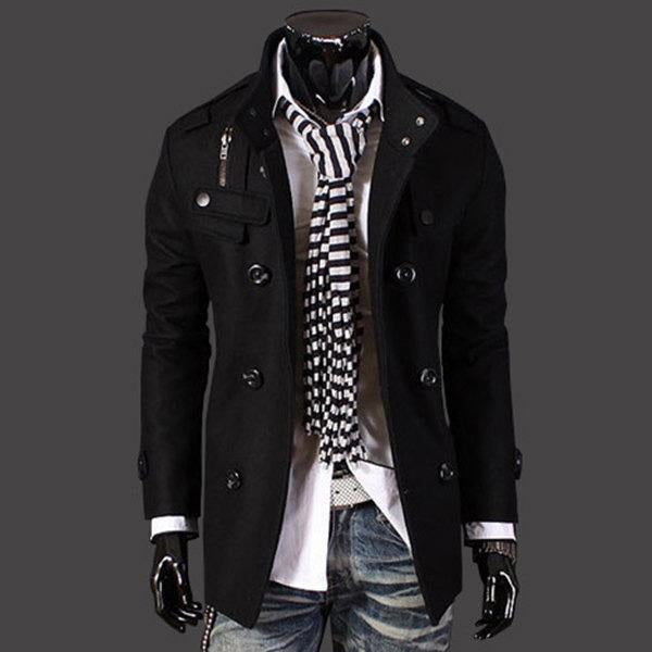 Mens Double Breasted Stand Collar Trench Coat