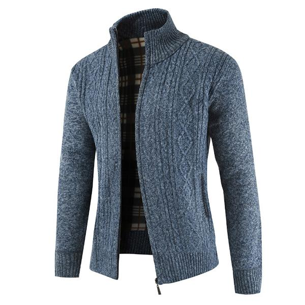 Knitted Solid Color Collar-neck Coats