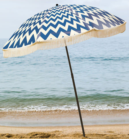 Chevron Beach umbrella with fringe