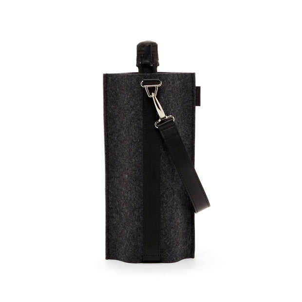 Solo Wine Carrier | Charcoal Merino Wool with Leather Strap