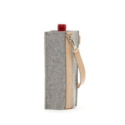 Solo Wine Carrier | Granite Merino Wool Felt with Leather Strap