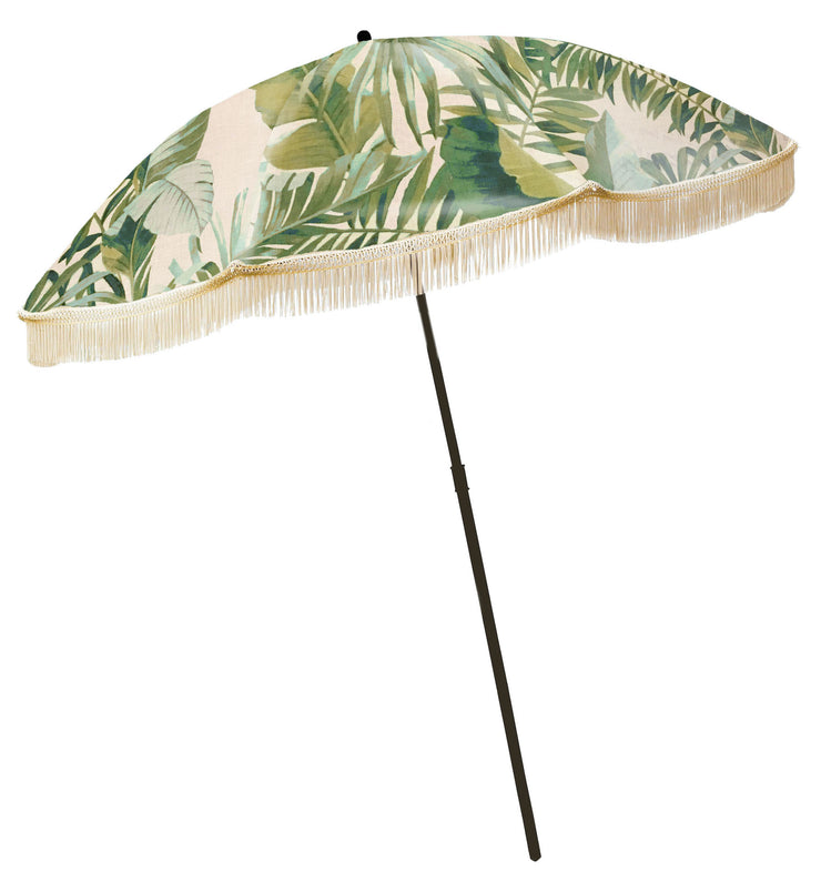 PALM LEAF UMBRELLA WITH FRINGE