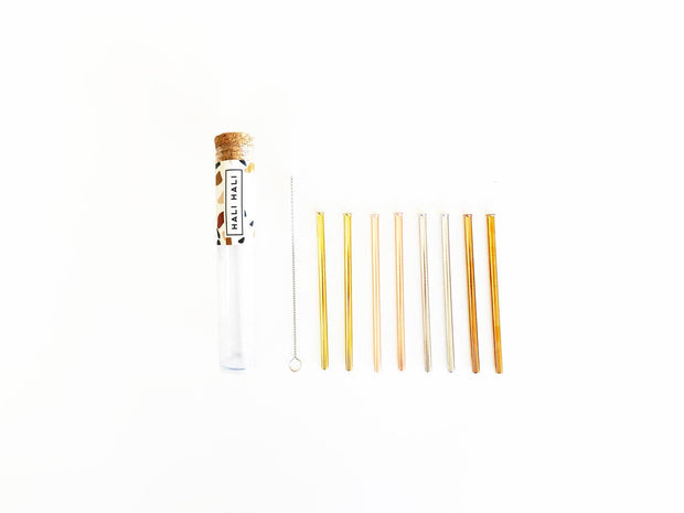 COCKTAIL STRAWS IN REUSABLE CASE | SET OF 8