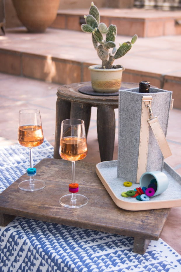 COZY WINE CARRIER IN FELT | PINK
