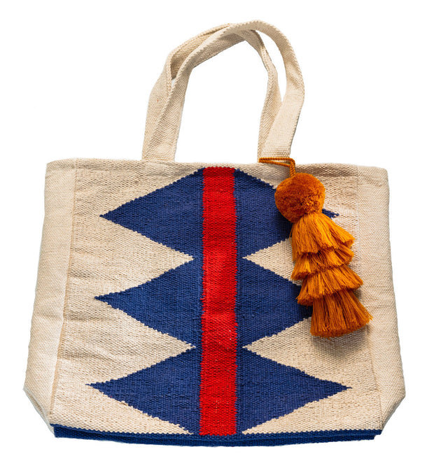 "Diamond Dhurrie Bag with 11"" Rust Pom Pom Tassel"