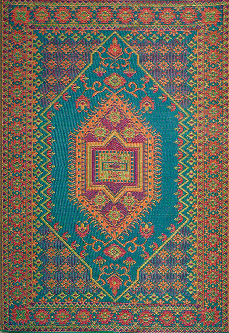 THE OG RECYCLED PLASTIC OUTDOOR MAT 4' X 6' TURKISH AQUA