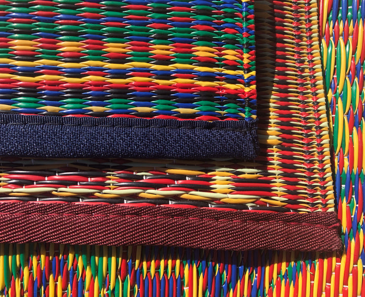 Close up of outdoor mat trim and weave