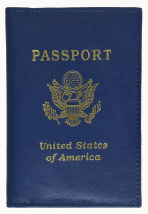 Genuine Leather USA Gold Logo Passport Cover Holder for Travel 151 CF USA (C)